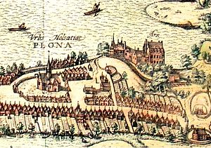 Plön Castle - The old Plön Castle around 1595 on an engraving by Georg Braun and Frans Hogenberg, section from Civitates orbis terrarum