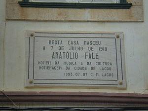 Anatólio Falé - Image: Placa Anatólio Falé