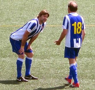 Mauricio Pochettino - Pochettino (left) playing for Espanyol in a veterans' match in 2011