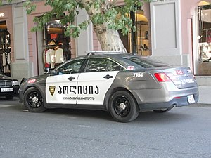 Law enforcement in Georgia (country) - Georgian police's patrol car Ford Taurus Police Interceptor.