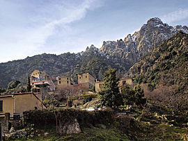 The village and mountains around Popolasca
