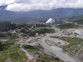Porgera Gold Mine - Looking out across the lower half of the Porgera processing plant, and down into the Porgera valley