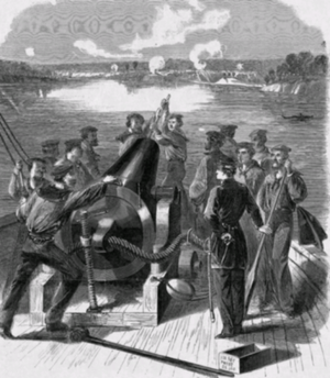 USS Richmond (1860) - Sailors aboard the USS Richmond shell Confederate forces during the Siege of Port Hudson.