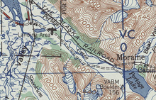 A detail from a map with several roads and railroads