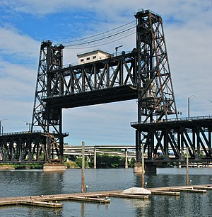 Steel Bridge - With lower deck telescoped into upper deck and lift span almost fully raised