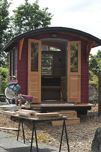 A small, mobile home built at the Portland (Or...