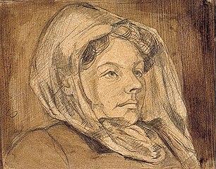 Portret van Agnita Feis met sluier
