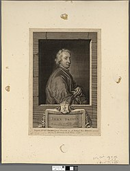 George Vertue: John Dryden, whose tunefull muse affords the sweetest numbers, and the fittest words. Addison