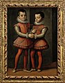 Portrait of Vittorio Amedeo (1587-1637) and Emanuele Filiberto (1588-1624), Dukes of Savoy, full-length, in red and silver costumes with red hoses, lace collars and cuffs.jpg