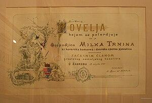 Milka Ternina - Certificate of honorary membership in the Croatian State Theater