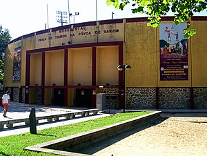 Póvoa de Varzim Bullfighting Arena - Façade billboard promoting the Grande Gala Equestre horse show.