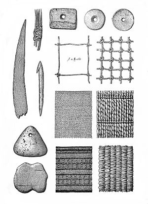 Prehistoric fishing gear, nets, weaving etc. Wellcome M0015197.jpg