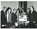 Presentation of Apollo 16 plaque. In the Speaker's office. Staff present, including Carl Albert, Louise Butler, Tamara Kitchens, and Sherry Tonubbee.jpg