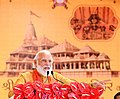 Prime Minister Narendra Modi addressing the gathering at the foundation stone laying ceremony of Ram Temple.jpg