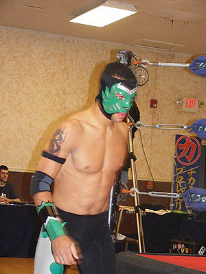 Ricochet (wrestler) - The masked Helios during a Chikara event