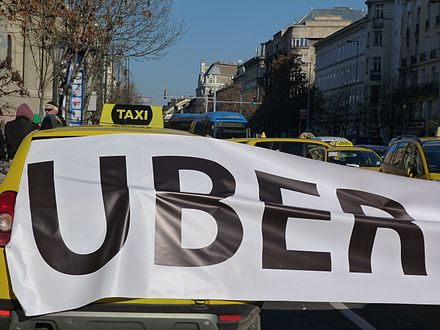 A Protest Against Uber By Taxi Drivers
