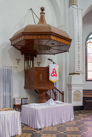 Pulpit - Pulpit at Blenduk Church in Semarang, Indonesia, with large sounding board and cloth antependium