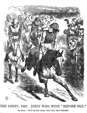 Reform Act 1867 - Contemporary cartoon of Disraeli outpacing Gladstone at The Derby, parodying the perceived victor in debates in a split Liberal-led Commons while Disraeli's fellow Conservative, Lord Derby led as Prime Minister from the House of Lords.