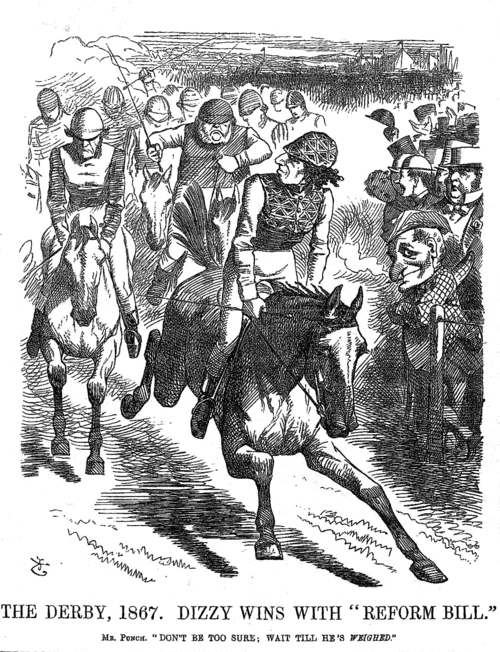 Contemporary cartoon of Disraeli outpacing Gladstone (left) at The Derby, parodying the perceived victor in debates in a split Liberal-led Commons while Disraeli's fellow Conservative, Lord Derby led as Prime Minister from the House of Lords. PunchDizzyReformBill.png