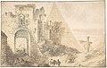 Pyramid of Cestius and the Porta San Paolo, Rome MET DP800490.jpg