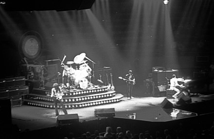 Queen on stage at the Oakland Arena, Oakland, California, July 1980 Queen Concert Oakland 2.jpg