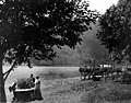 Qui Si Sana Sanatorium and Biological Institution showing Mr and Mrs Dechmann on the beach near the boat landing, Crescent Lake (WASTATE 1604).jpeg