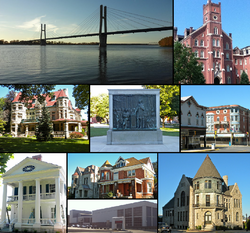 From left to right: The Bayview Bridge, Francis Hall on the Quincy University campus, Quincy Museum, Lincoln-Douglas debates mural in Washington Park, intersection of 8th and State in the South Side German Historic District, John Wood Mansion, neighborhood in the Northwest Historic District [top], the Oakley-Lindsay Center [bottom], the Gardner Museum of Architecture and Design