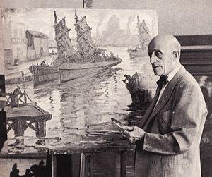Benito Quinquela Martín - Quinquela at his studio, 1964.