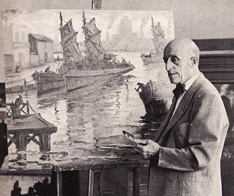 Benito Quinquela Martín - Quinquela at his studio, 1964