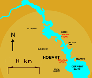 Risdon Cove - Map of Hobart showing locations of Risdon and Sullivans Cove.