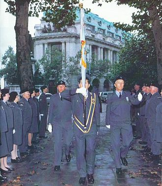 RAF Bentley Priory - ROC Banner is marched into St Clement Danes church, London for laying up on 29 September 1991.