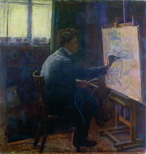 Raffaello Gambogi - Self-Portrait with easel (1899)