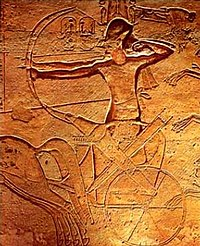 Relief of Ramses II located in Abu Simbel fighting at the Battle of Kadesh on a chariot.