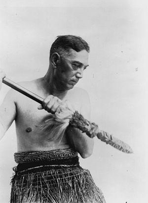 Taiaha - Portrait of Te Rangi Hīroa (Peter Henry Buck) dressed in Maori costume and holding a taiaha 1930s.
