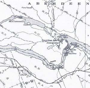 Rapides-des-Joachims, Quebec - Rapides-des-Joachims before construction of the dam. The Ontario/Quebec border is represented as a dashed line on the Ottawa River.