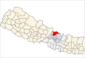 Rasuwa District i Bagmati Zone (grå) i Central Development Region (grå + lysegrå)