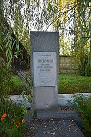 Rava-Ruska Lvivska Str. Boarding School Yard Grave of WW2 Warrior Border Guard V.Piskunov (YDS 8679).jpg