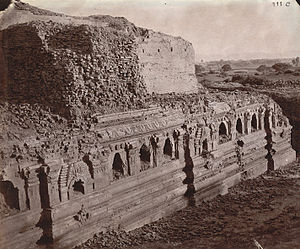 Nalanda - Rear view of the ruins of the Baladitya Temple in 1872.