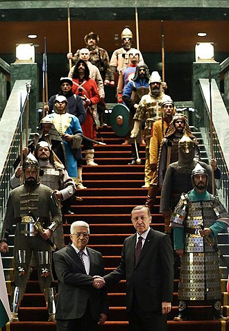 "16 Great Turkic Empires - Erdoğan and Abbas with actors representing the ""16 Great Turkic Empires"" (2015)"