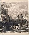 Redon - Deux personnages drapés dans un paysage de montagne rocheux, Vers 1865.jpg