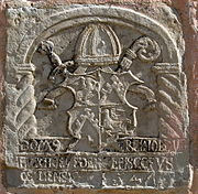 A carved stone with the coat of arms of Reinhold von Buxhoeveden.