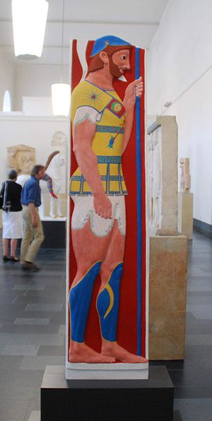 Stele of Aristion - Coloured reconstruction in the Gods in Color exhibition, Pergamonmuseum 2010