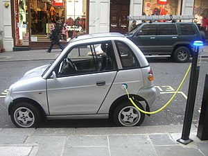 Mahindra Electric - The REVAi, known also as G-Wiz i, charging at an on-street station in London.