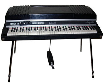 Music technology (electric) - A Rhodes Mark II Stage 73 electric piano. It has to be plugged into an instrument amplifier or guitar amp to be heard by the performer and audience.