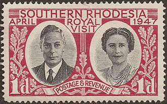 Southern Rhodesia - A postage stamp commemorating the royal visit of 1947
