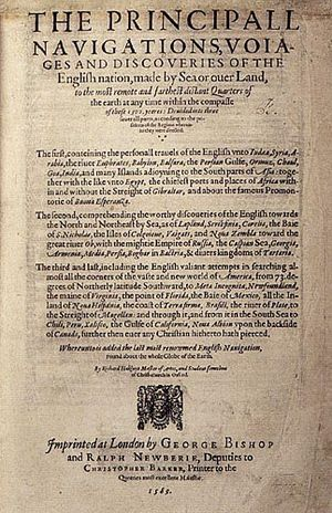 Emery Molyneux - The title page of Richard Hakluyt's 1589 work The Principall Navigations, Voiages and Discoveries of the English Nation, which announced the coming publication of Molyneux's terrestrial globe