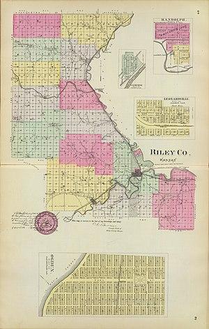 Riley County, Kansas - Riley County Township map (1887)