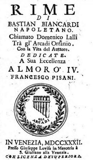 Domenico Lalli - Title page of a collection of Lalli's poetry published in 1732 displaying the crest of the Accademia degli Arcadi