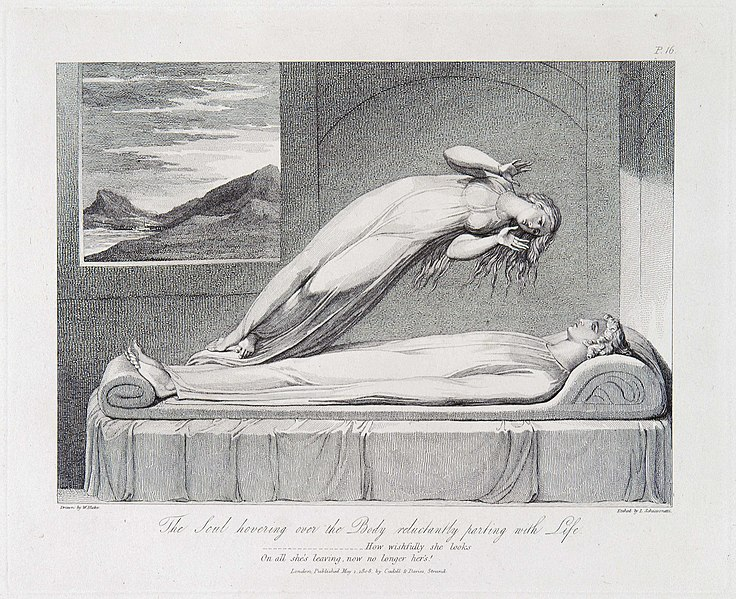 File:Robert Blair, The Grave, object 7 (Bentley435.6) The Soul hovering over the Body reluctantly parting with Life.jpg
