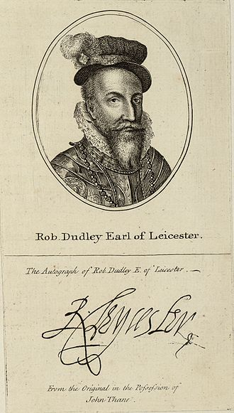 Robert Dudley, 1st Earl of Leicester - Robert Dudley. An 18th century copy of his portrait and autograph